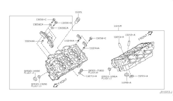 Nissan OEM 11090-JF00A Cylinder Head LH VR38DETT: 2009-2017 Nissan R35 GTR