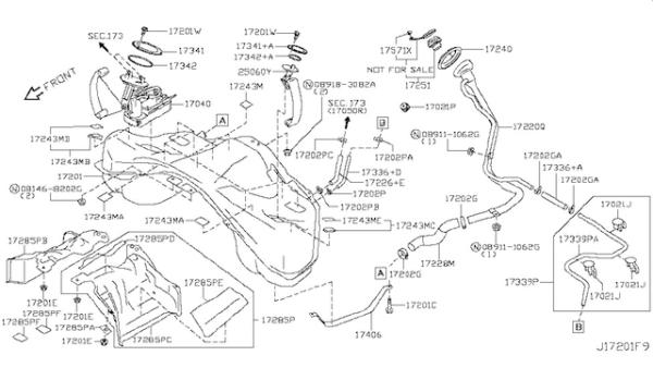 Nissan OEM 17040-89S0A Intank Fuel Pump Assembly: 2009-2016 Nissan R35 GTR